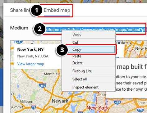 Set the Google Maps Embed Code